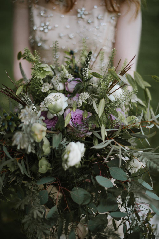 Bride Bridal Bouquet Foliage Dusky Purple Rose Orange Tree House Wedding Winter You Them Us Photography