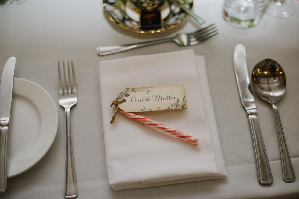 Place Setting Name Card Candy Cane Orange Tree House Wedding Winter You Them Us Photography