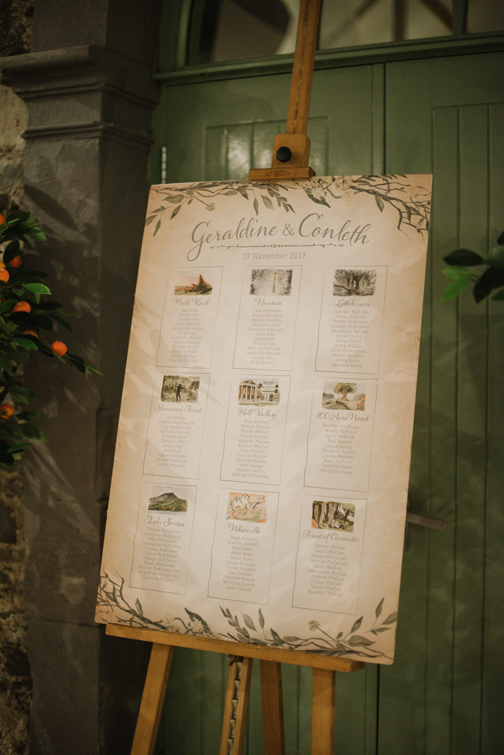 Table Plan Seating Chart Watercolour Drawing Orange Tree House Wedding Winter You Them Us Photography