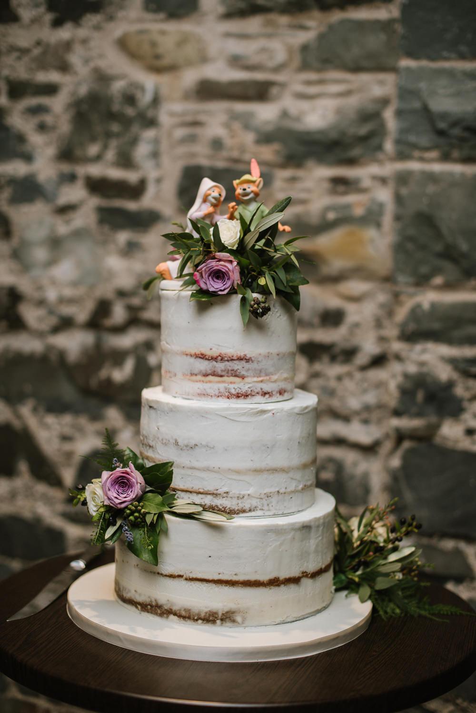 Semi Naked Buttercream Cake Robin Hood Maid Marion Cake Topper Greenery Flowers Purple Rose Orange Tree House Wedding Winter You Them Us Photography