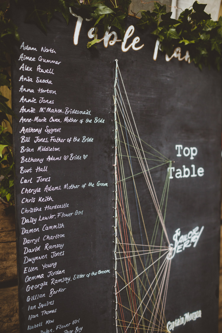 Table Plan Seating Chart String Nail Chalk Rustic Relaxed Farm Wedding Photography34