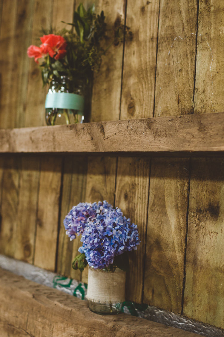 Jar Flowers Decor Rustic Relaxed Farm Wedding Photography34