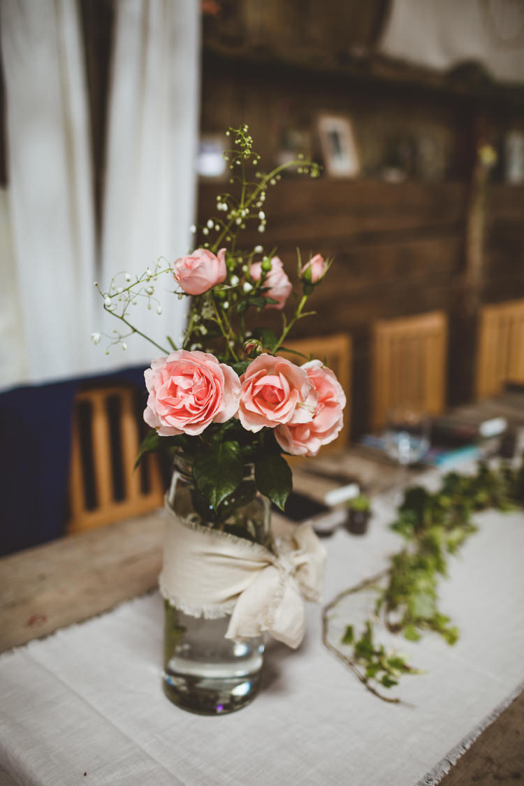 Jar Flowers Table Roses Rustic Relaxed Farm Wedding Photography34