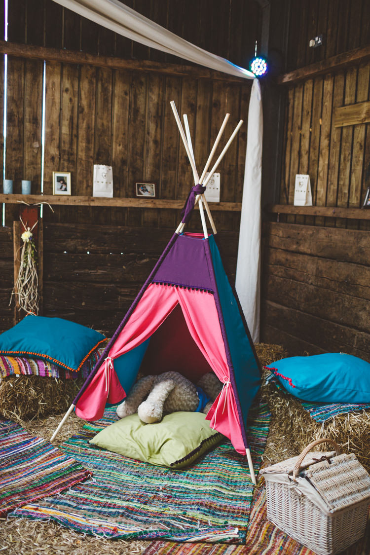 Kids Childrens Tipi Tent Area Rustic Relaxed Farm Wedding Photography34