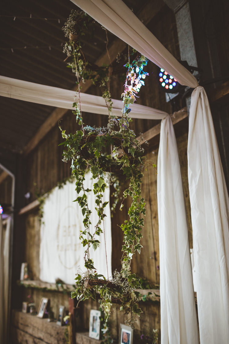 Hanging Greenery Foliage Hoop Decor Rustic Relaxed Farm Wedding Photography34