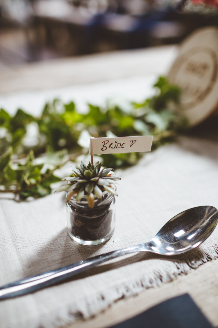 Potted Succulent Jar Place Name Flag Favour Rustic Relaxed Farm Wedding Photography34