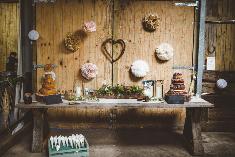Cake Dessert Table Rustic Relaxed Farm Wedding Photography34
