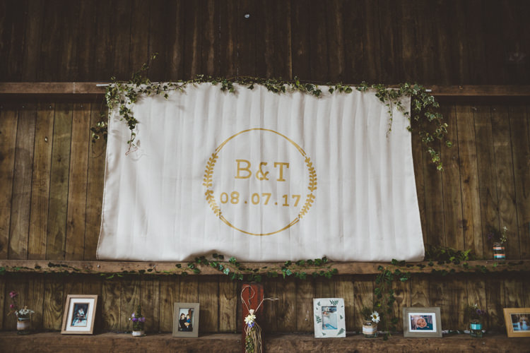 Top Table Backdrop Banner Personalised Monogram Rustic Relaxed Farm Wedding Photography34