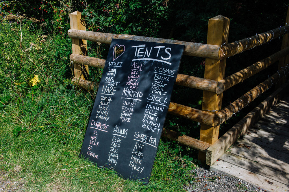 Tent Plan Blackboard Chalk Board Camping Secret Barn Sussex Wedding Rainbow Colourful Yvonne Lishman Photography