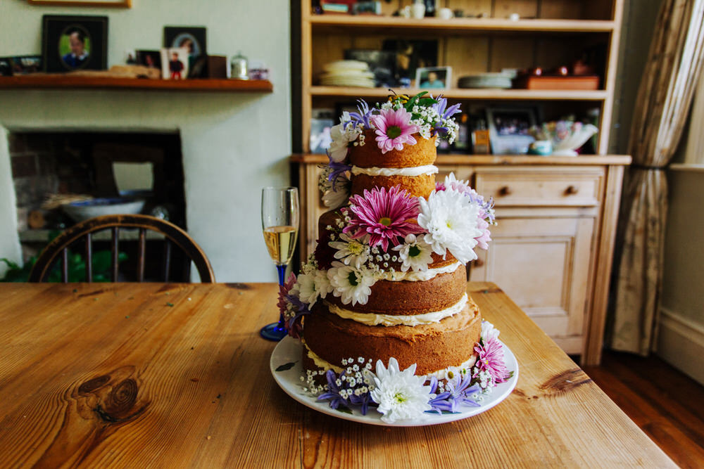 Naked Cake Flowers Floral Tiered Secret Barn Sussex Wedding Rainbow Colourful Yvonne Lishman Photography