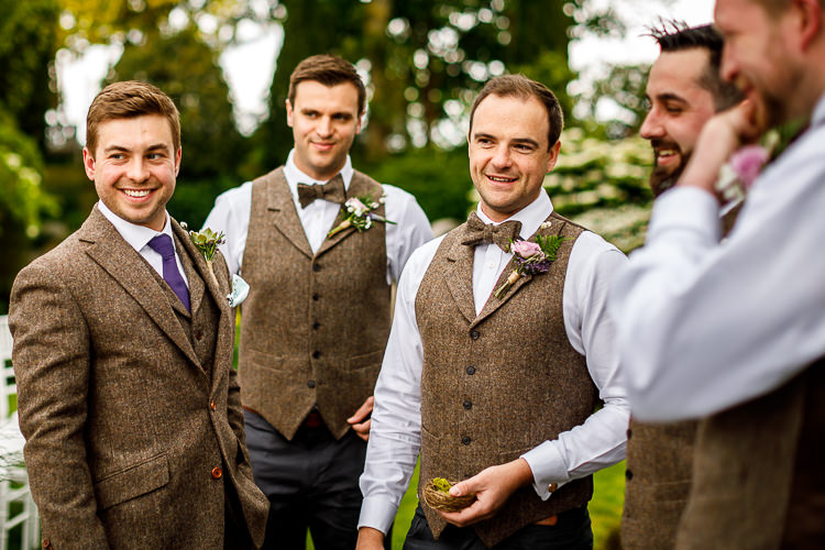 Brown Tweed Suit Groom Bow Ties Groomsmen Waistcoats South Farm Wedding Midsummer Night's Dream Lina and Tom Photography
