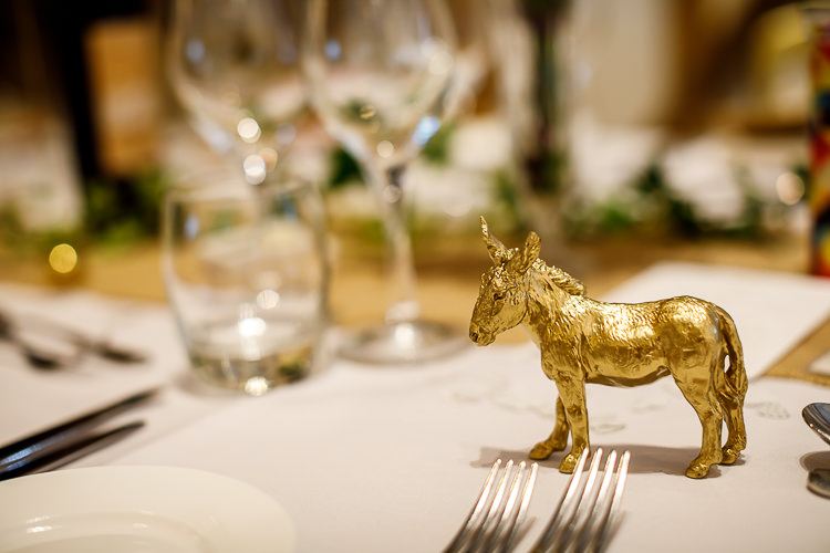 Gold Painted Animal Decor South Farm Wedding Midsummer Night's Dream Lina and Tom Photography
