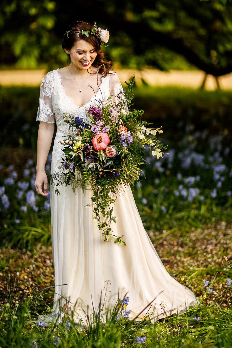 Bouquet Flowers Bride Bridal Cascading Peony Ivy Rose Foliage South Farm Wedding Midsummer Night's Dream Lina and Tom Photography
