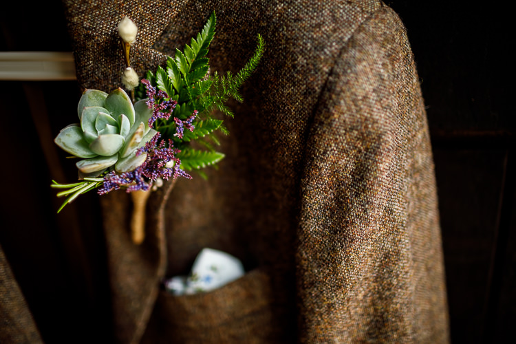 Buttonhole Groom Succulent Fern South Farm Wedding Midsummer Night's Dream Lina and Tom Photography