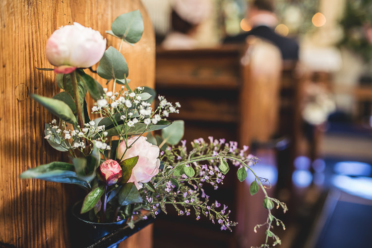 Peony Church Flowers Pew End Tipi Garden Wedding Wedding Foxley Photography