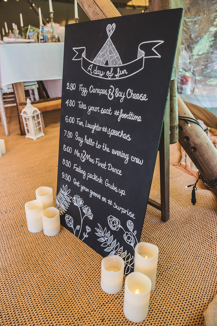 Chalk Black Bord Sign Order Timings Tipi Garden Wedding Wedding Foxley Photography