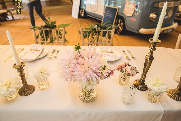 Flowers Dahlia Pink Table Candles Tipi Garden Wedding Wedding Foxley Photography