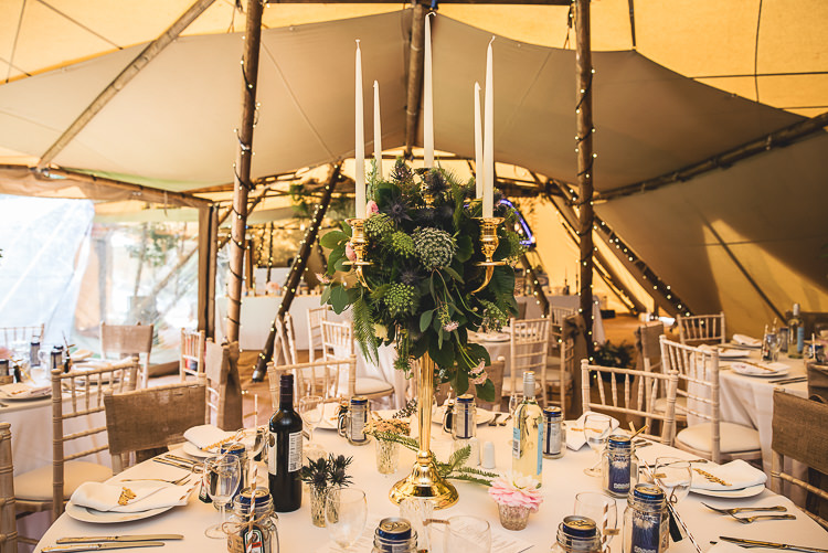 Candelabra Flowers Greenery Tables Tipi Garden Wedding Wedding Foxley Photography