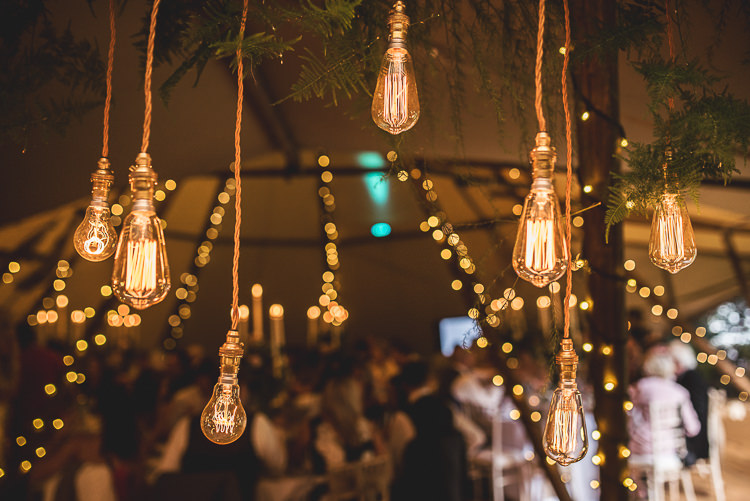 Edison Lights Installation Tipi Garden Wedding Wedding Foxley Photography