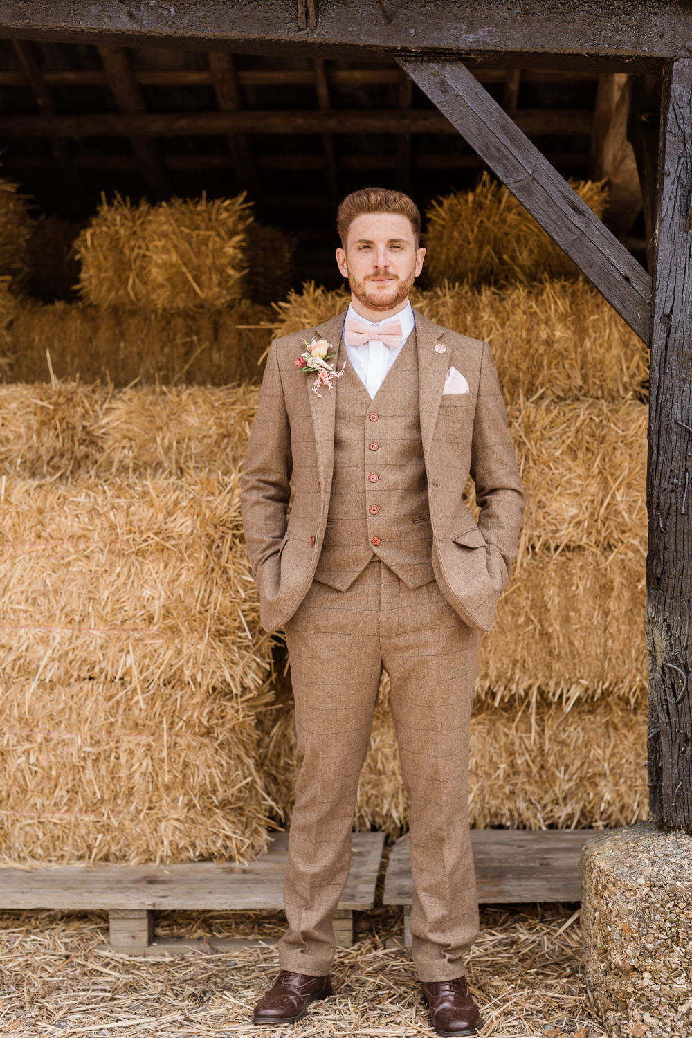Groom Brown Tweed Suit Pink Bow Tie Tropical Boho Countryside Wedding Ideas Sarah Brookes Photography