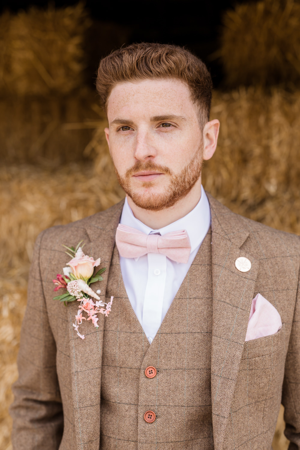 Groom Brown Tweed Suit Pink Bow Tie Buttonhole Tropical Boho Countryside Wedding Ideas Sarah Brookes Photography
