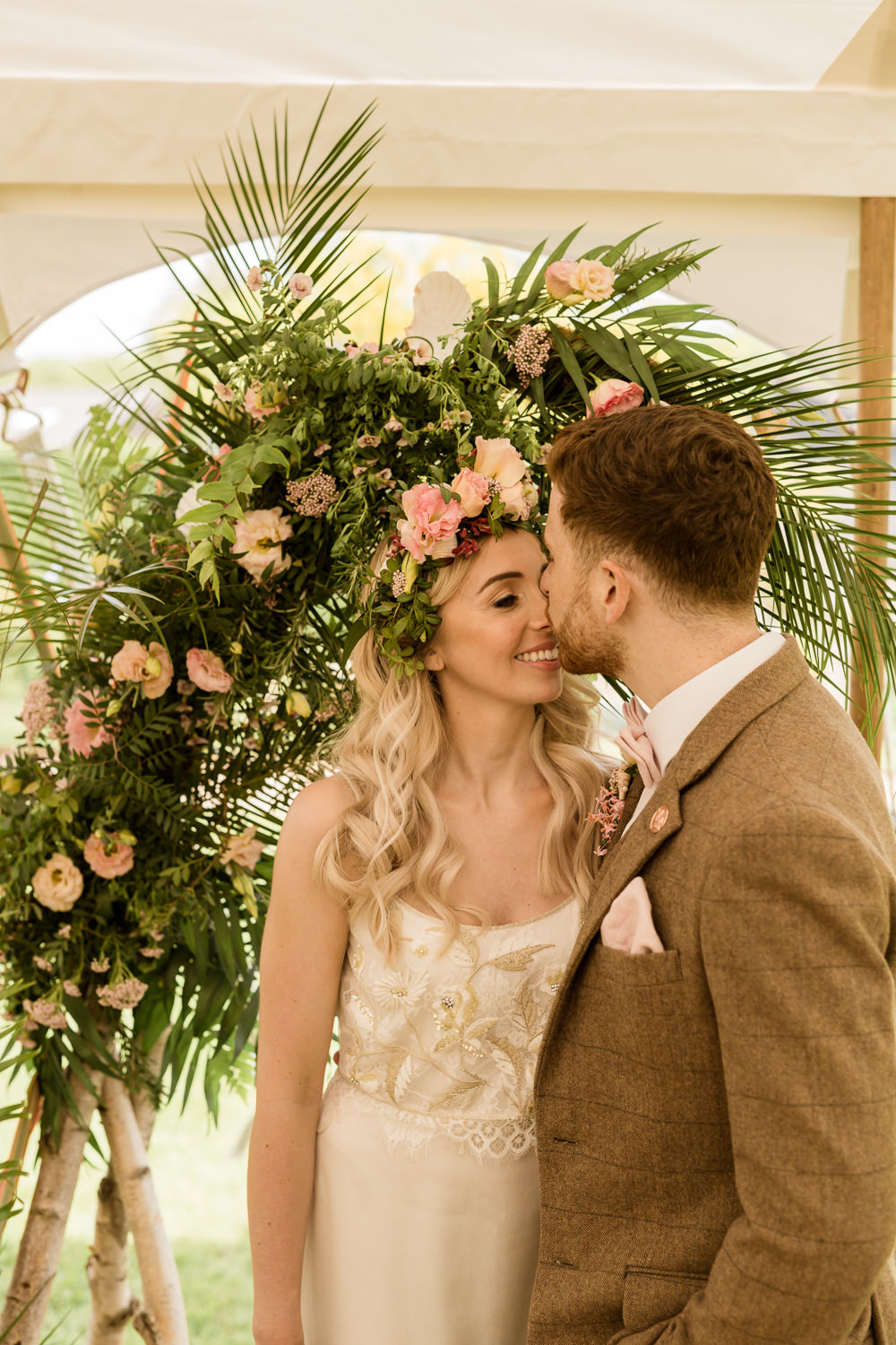 Backdrop Arch Pampas Grass Palm Leaves Fresia Flowers Pink Foliage Greenery Tropical Boho Countryside Wedding Ideas Sarah Brookes Photography
