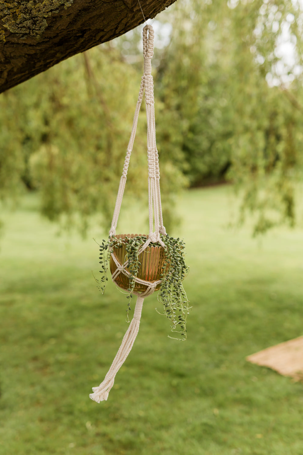Hanging Suspended Pot Plant Tropical Boho Countryside Wedding Ideas Sarah Brookes Photography