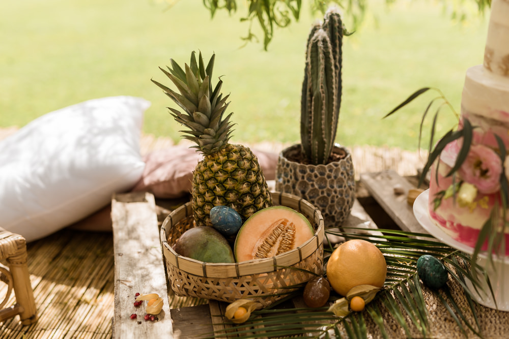 Fruit Pineapples Cactus Decor Tropical Boho Countryside Wedding Ideas Sarah Brookes Photography