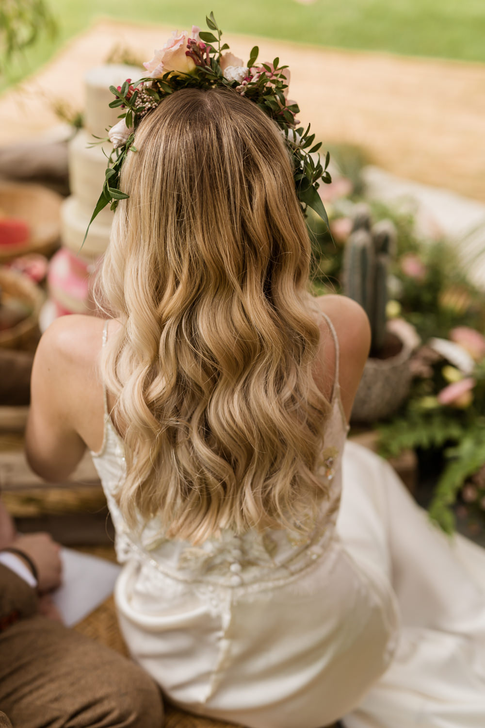 Bride Bridal Hair Waves Blonde Long Flowers Tropical Boho Countryside Wedding Ideas Sarah Brookes Photography