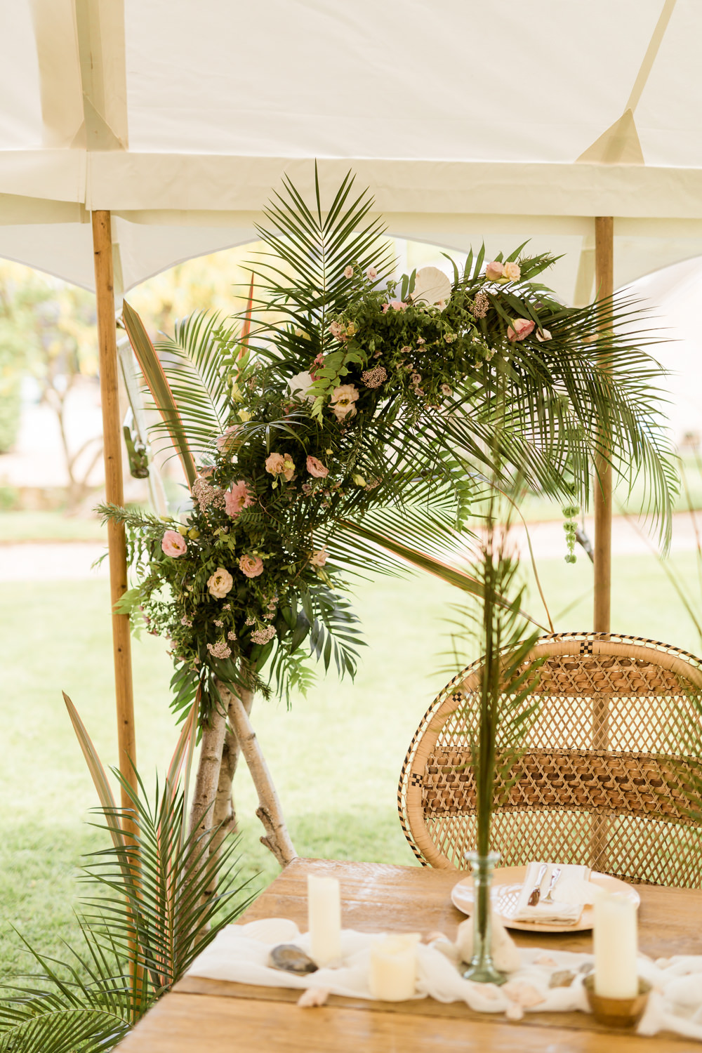 Backdrop Arch Table Palm Leaves Rosemary Pistache Eustoma Flowers Bride Bridal Pink Foliage Greenery Shells Tropical Boho Countryside Wedding Ideas Sarah Brookes Photography