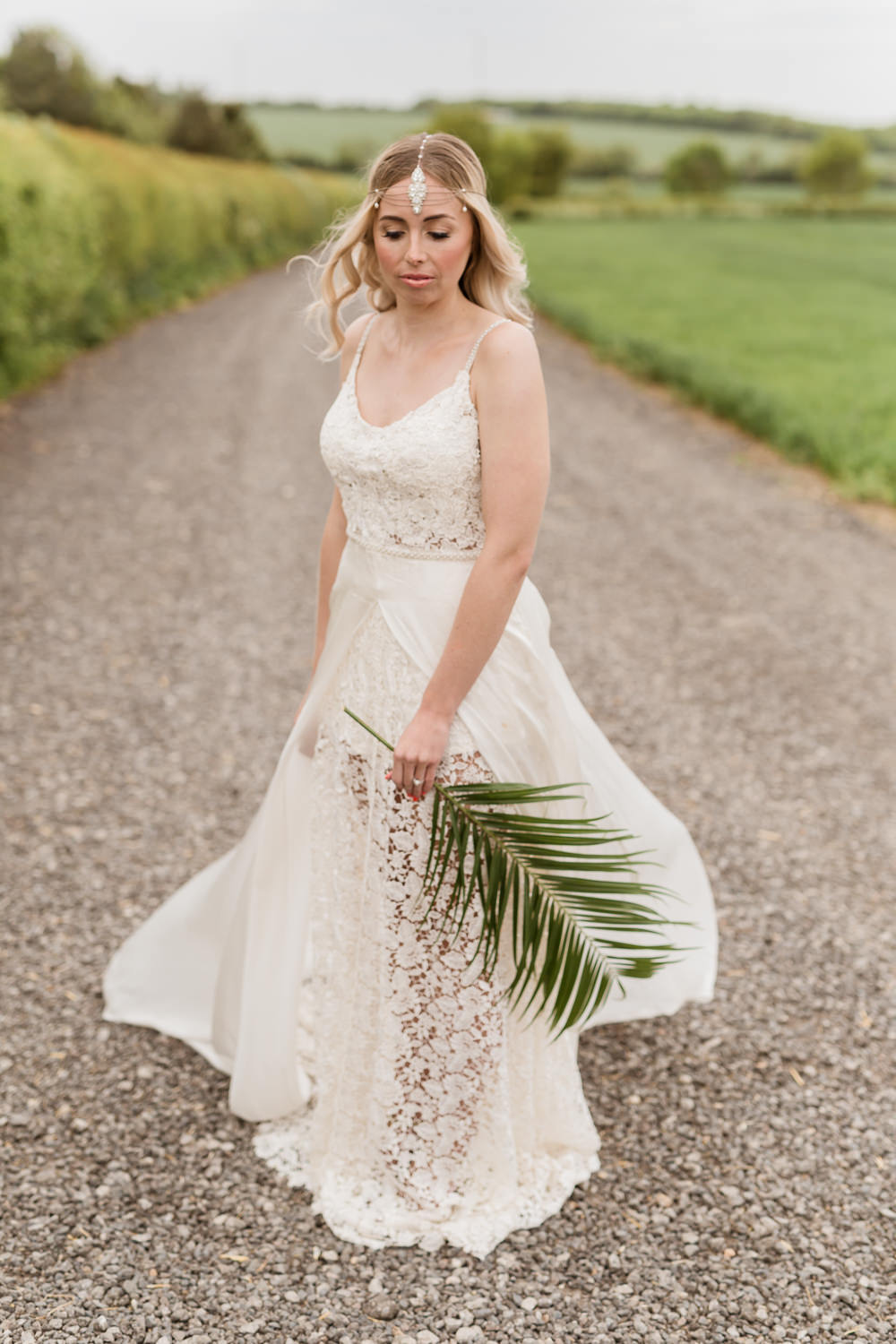 Dress Gown Bride Bridal Veil Lace Tropical Boho Countryside Wedding Ideas Sarah Brookes Photography
