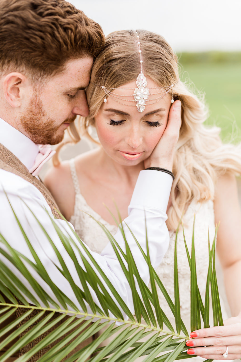 Bride Bridal Headdress Accessory Tropical Boho Countryside Wedding Ideas Sarah Brookes Photography