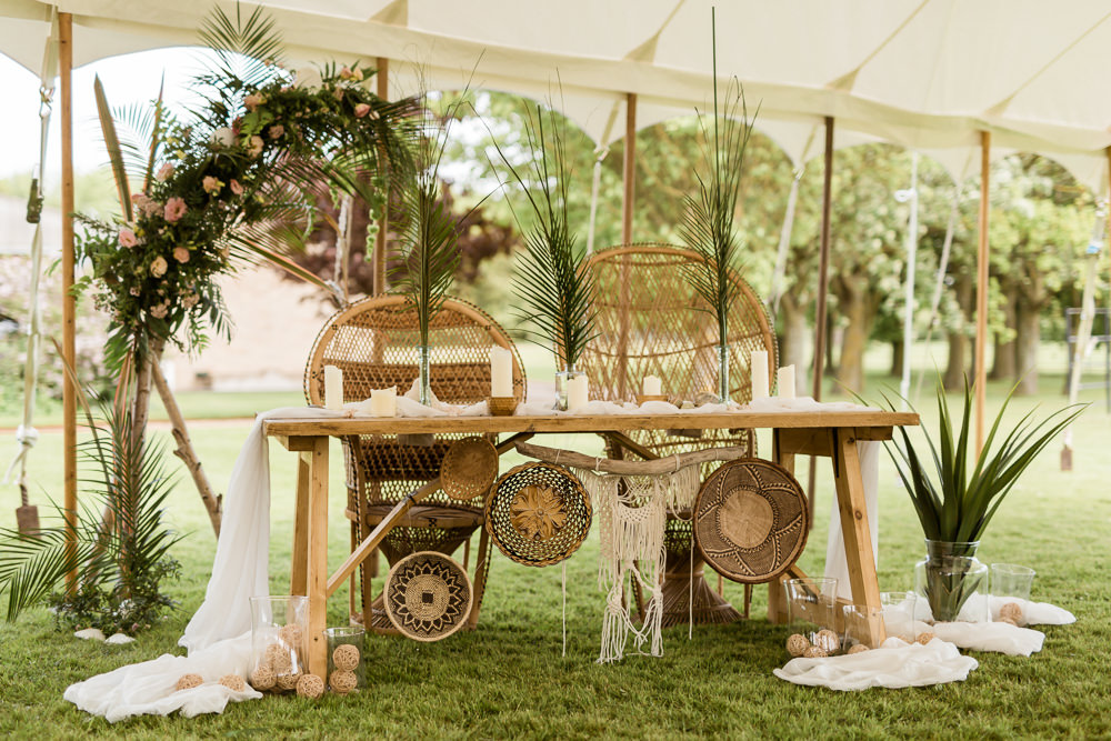 Peacock Chairs Table Top Tropical Boho Countryside Wedding Ideas Sarah Brookes Photography