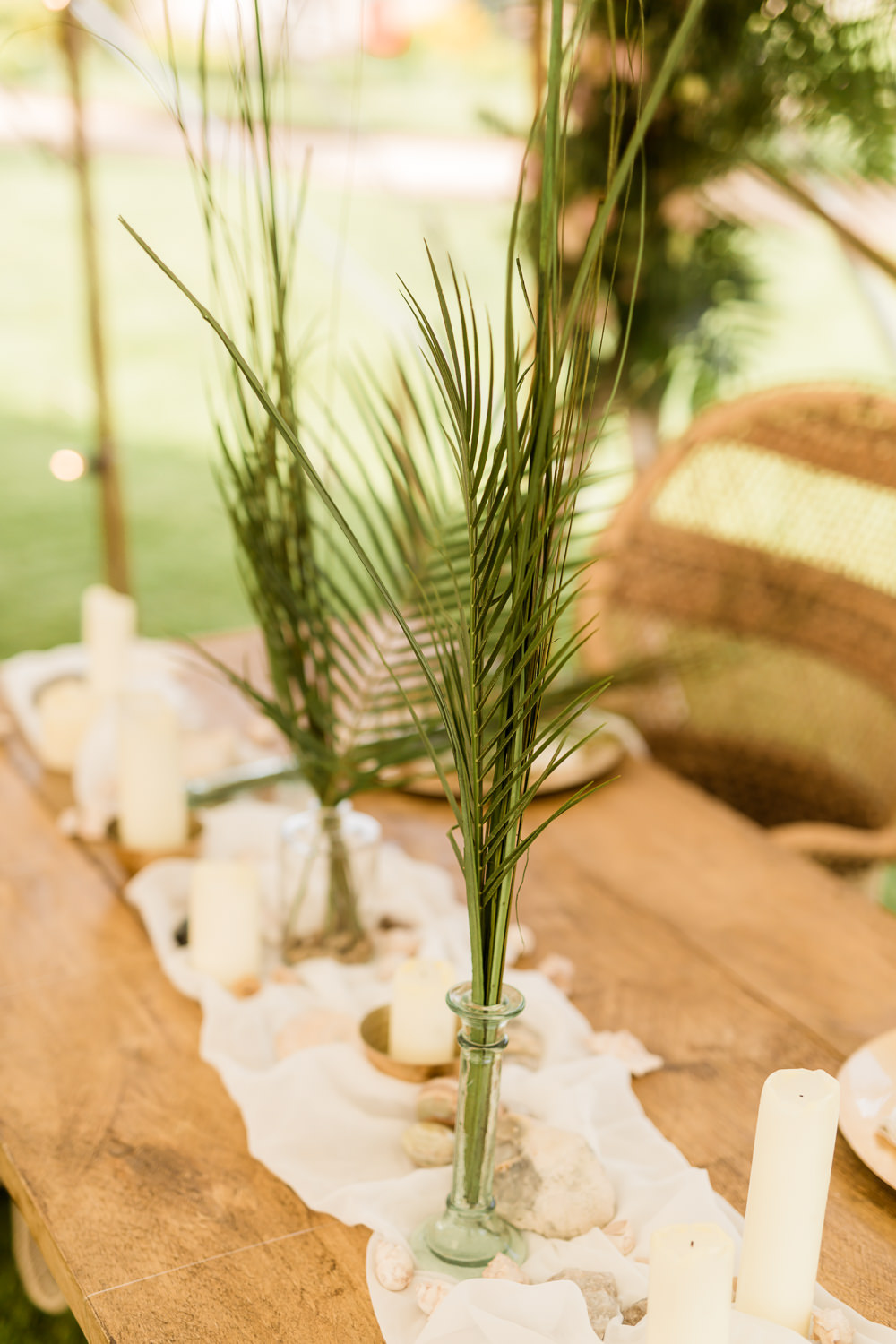 Tablescape Decor Shells Gold Palm Leaves Tropical Boho Countryside Wedding Ideas Sarah Brookes Photography