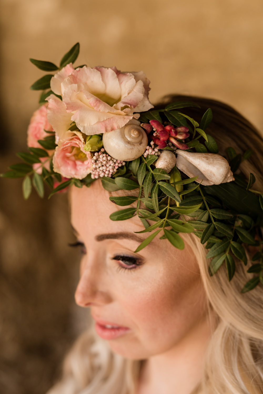 Rosemary Pistache Eustoma Flowers Bride Bridal Pink Foliage Greenery Shells Crown Tropical Boho Countryside Wedding Ideas Sarah Brookes Photography