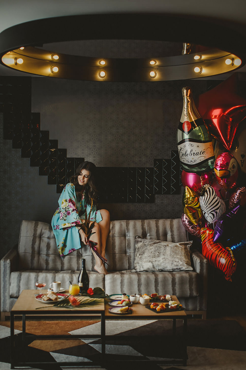 Destination Elopement Colorful Morning Robe Preparation Bride Balloons | Tropical Industrial Canary Islands Wedding Ideas Moana Photography