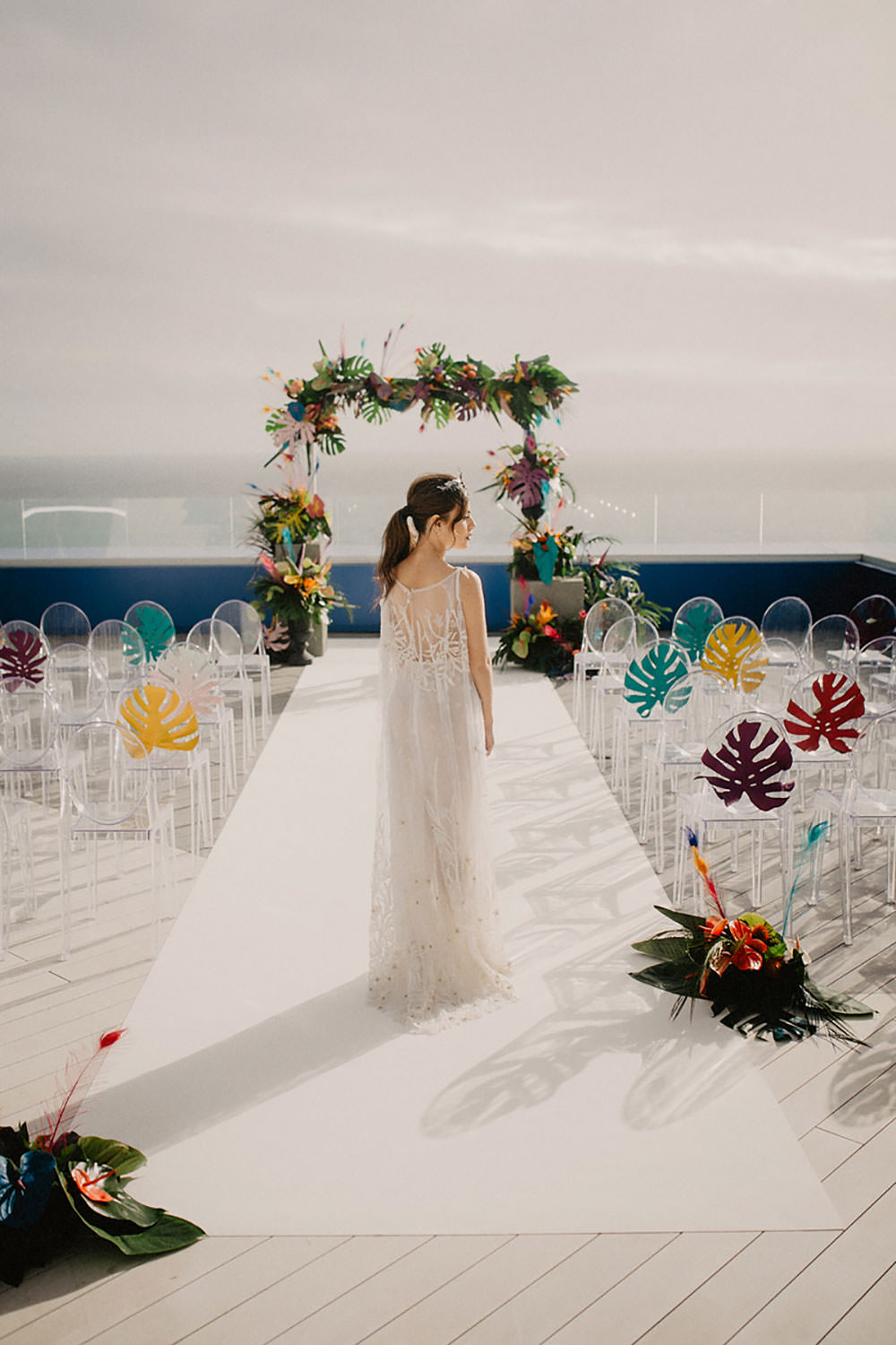 Colorful Destination Elopement Bride Headpiece Aisle Ceremony Arch Palm Leaves | Tropical Industrial Canary Islands Wedding Ideas Moana Photography