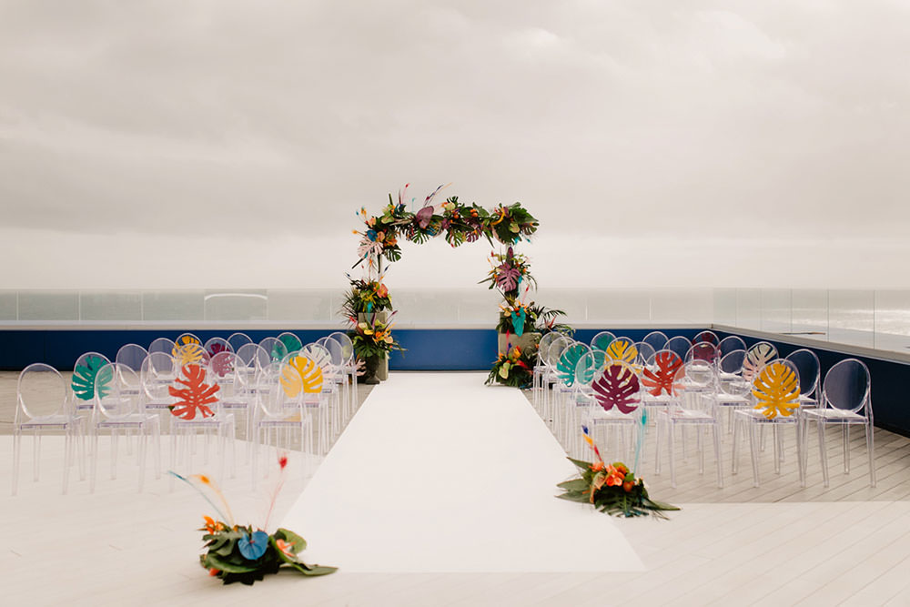 Colorful Destination Elopement Bride Aisle Ceremony Arch Palm Leaves | Tropical Industrial Canary Islands Wedding Ideas Moana Photography