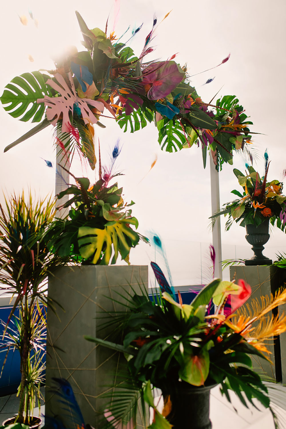 Colorful Destination Elopement Aisle Ceremony Arch Palm Leaves | Tropical Industrial Canary Islands Wedding Ideas Moana Photography
