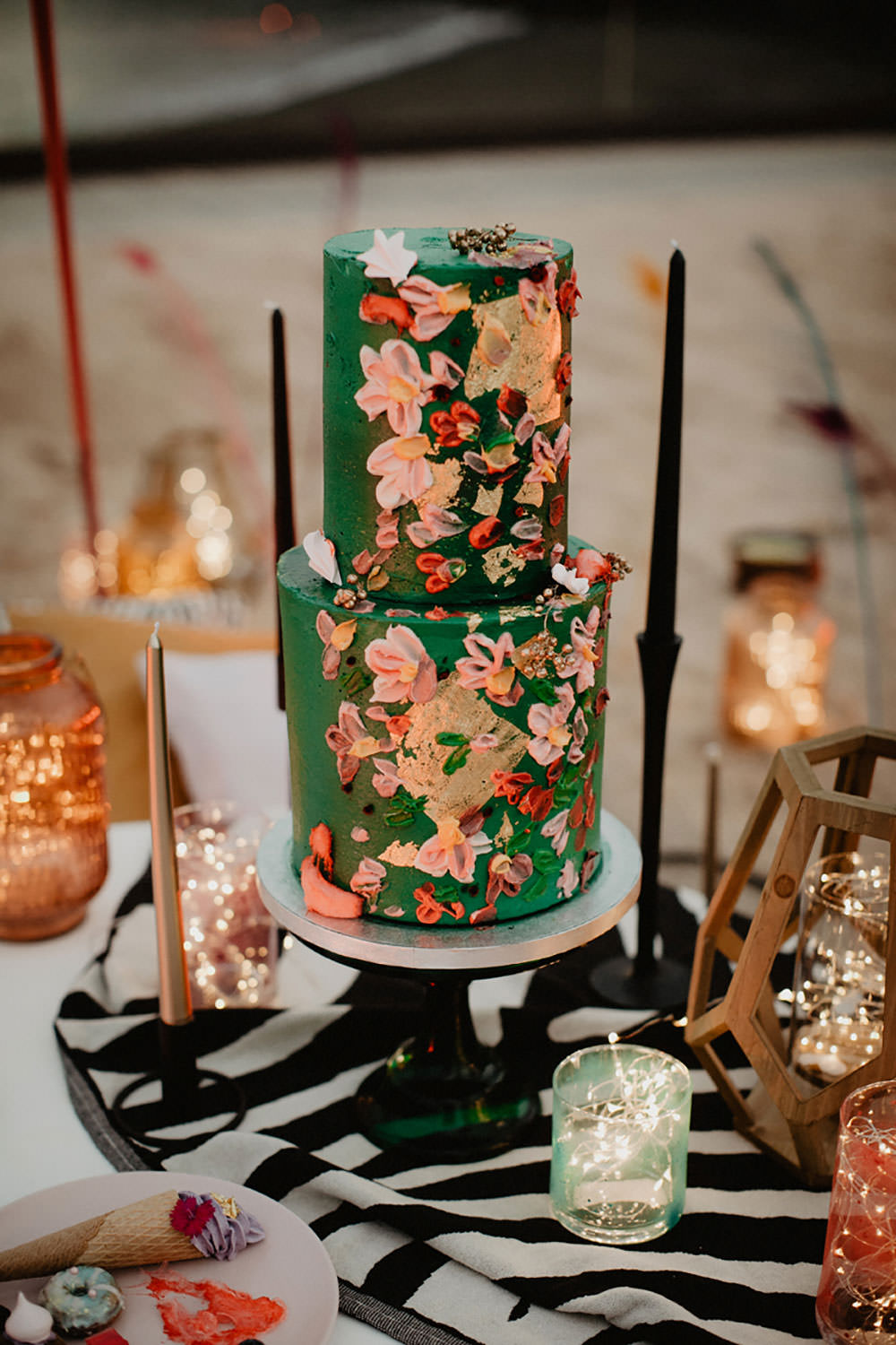 Colorful Destination Elopement Green Floral Boho Cake | Tropical Industrial Canary Islands Wedding Ideas Moana Photography