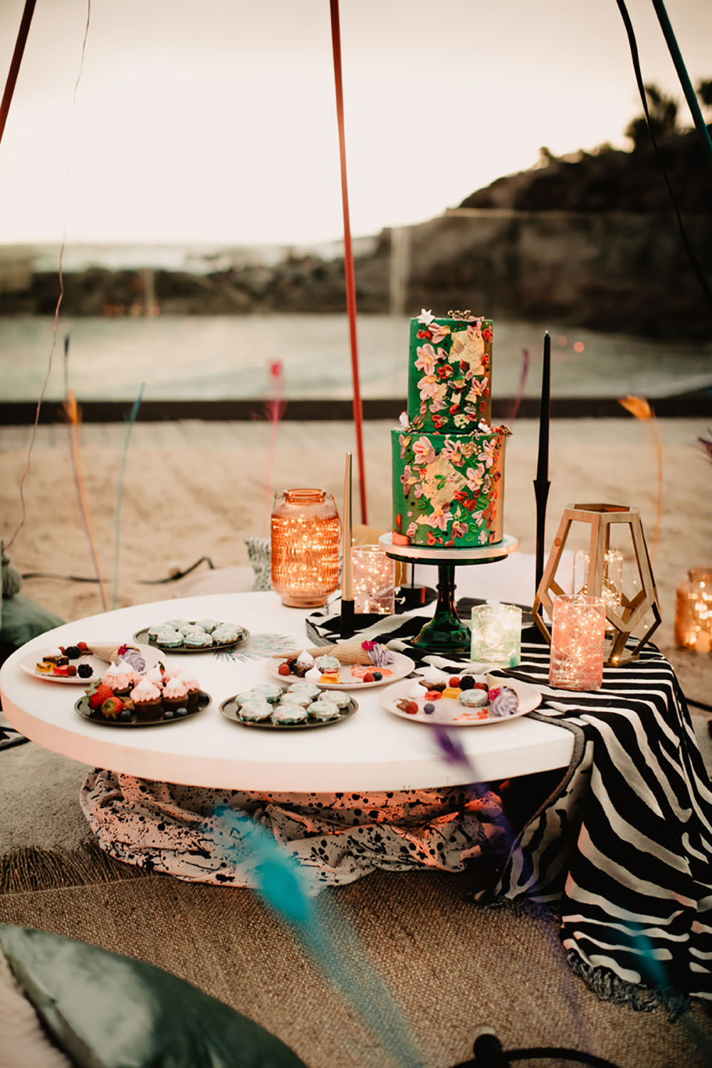 Colorful Destination Elopement Blue Doughnuts Fresh Flowers Dessert Table Green Floral Boho Cake | Tropical Industrial Canary Islands Wedding Ideas Moana Photography