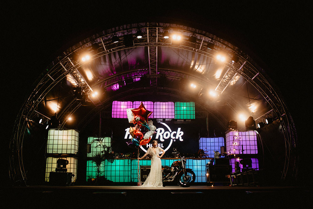 Colorful Destination Elopement Hard Rock Hotel Stage Motorcycle Lights Balloons | Tropical Industrial Canary Islands Wedding Ideas Moana Photography