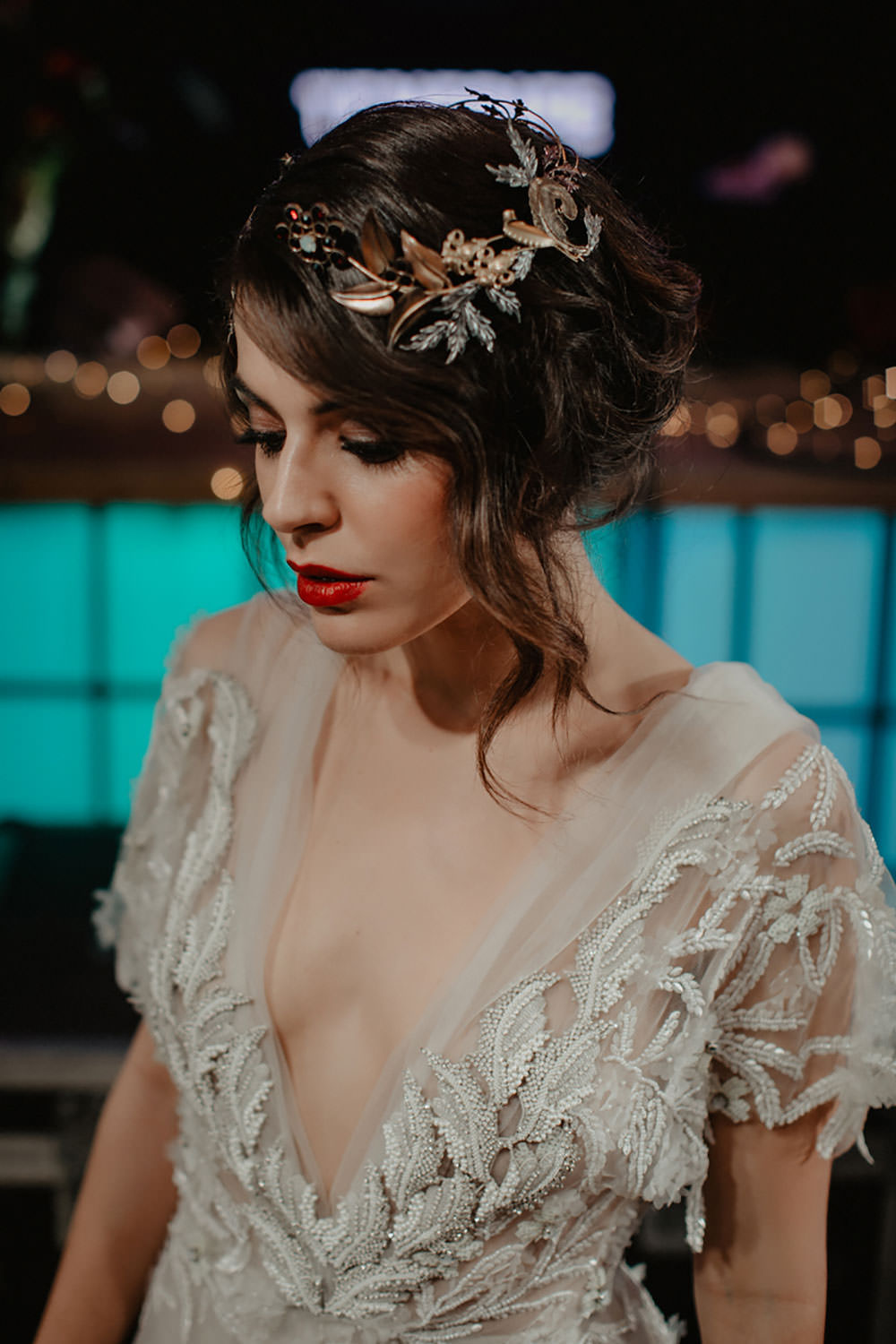 Headpiece Colorful Destination Elopement Hard Rock Hotel Stage Bridal Headpiece Plunge Dress | Tropical Industrial Canary Islands Wedding Ideas Moana Photography
