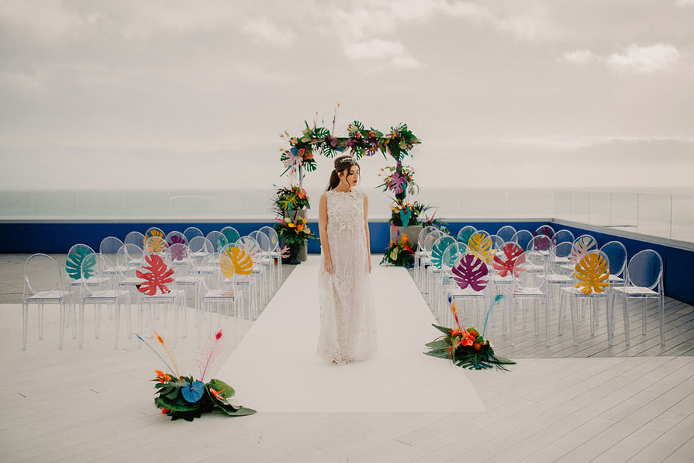 Colorful Destination Elopement Bride Headpiece Aisle Ceremony Arch Pony Tail | Tropical Industrial Canary Islands Wedding Ideas Moana Photography