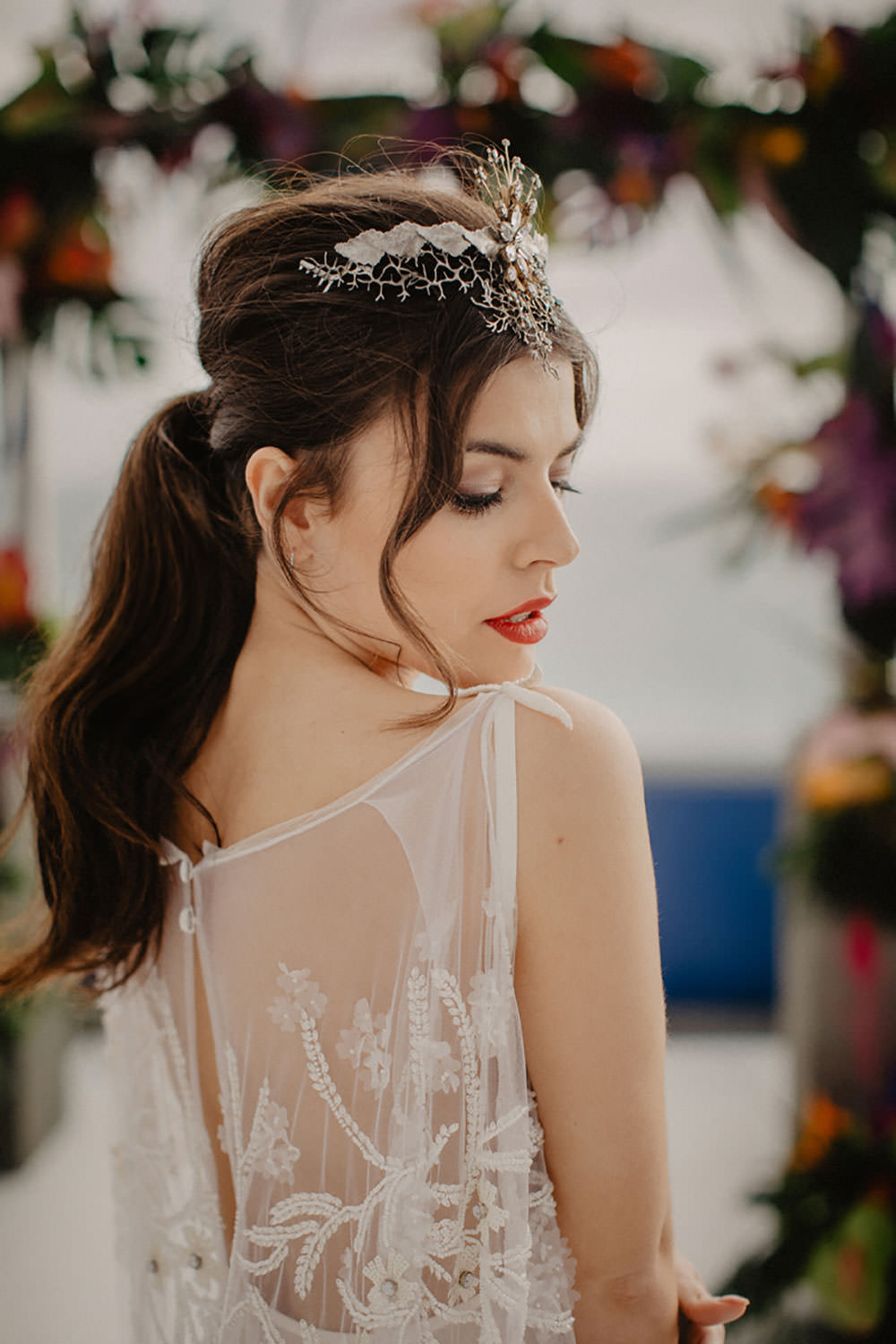 Colorful Destination Elopement Bride Headpiece Aisle Ceremony Pony Tail | Tropical Industrial Canary Islands Wedding Ideas Moana Photography