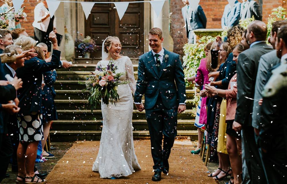 Confetti Throw Walcot Hall Wedding Shropshire Bridgwood Wedding Photography