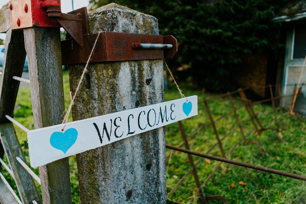 Wooden Welcome Sign Walcot Hall Wedding Shropshire Bridgwood Wedding Photography