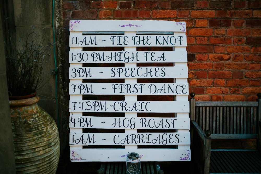 Painted Wooden Pallet Sign Order Timings Walcot Hall Wedding Shropshire Bridgwood Wedding Photography