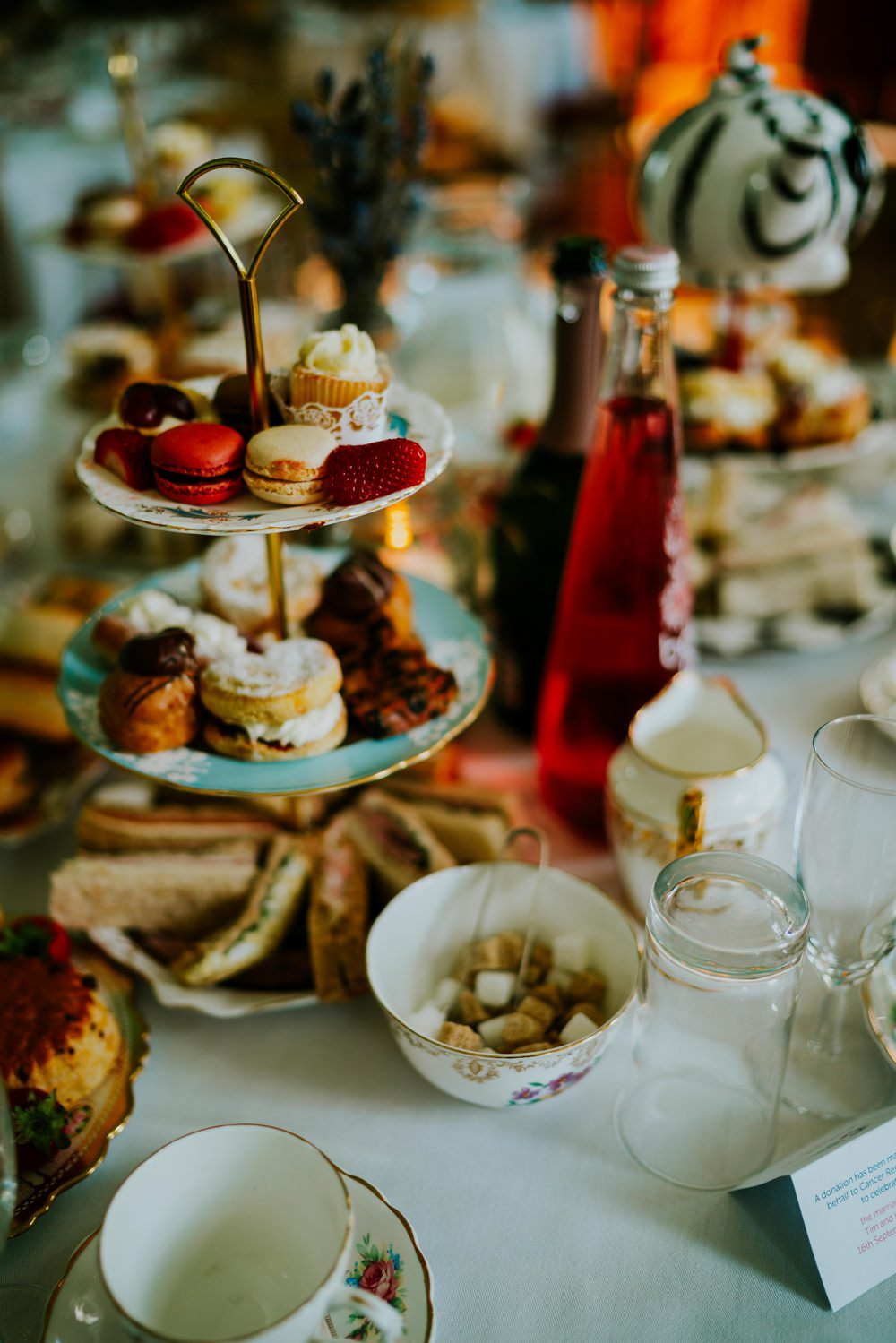 Afternoon Tea Stands Vintage China Walcot Hall Wedding Shropshire Bridgwood Wedding Photography