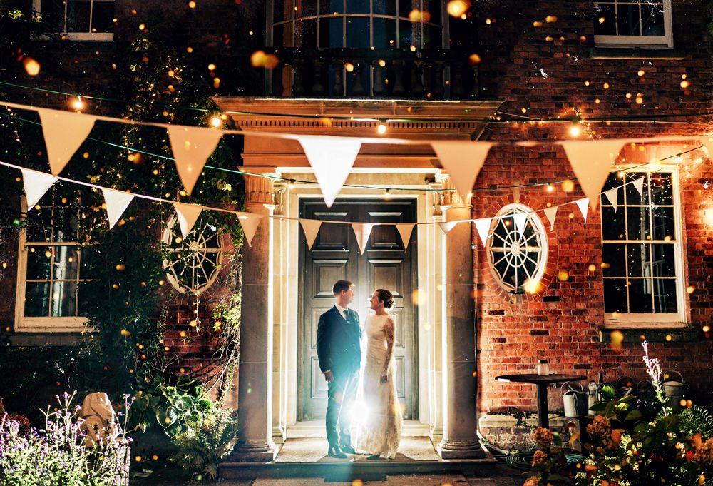 Festoon Lights Bunting Walcot Hall Wedding Shropshire Bridgwood Wedding Photography